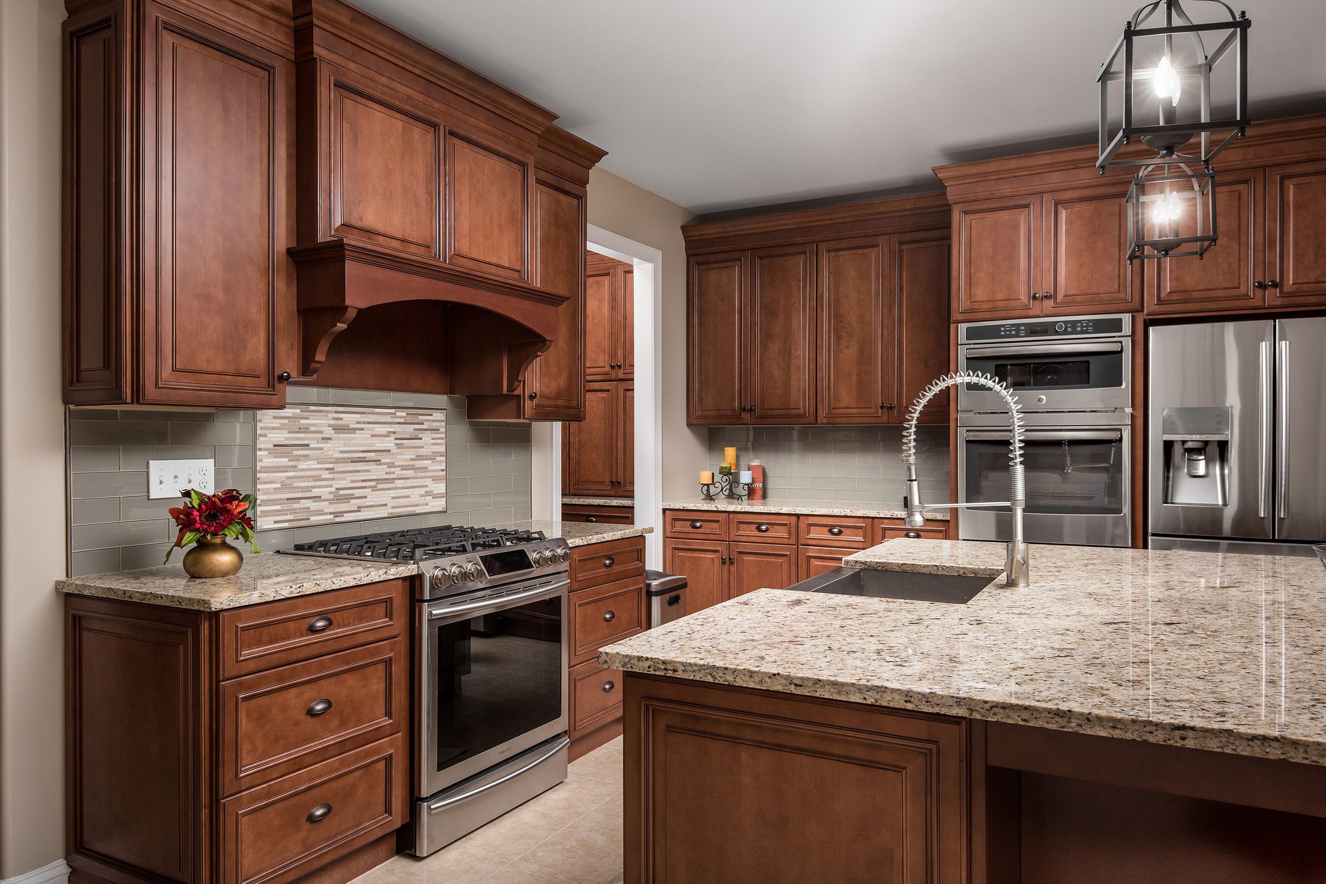 Around The Room Cabinetry Makes This Kitchen A Cozy Niche.